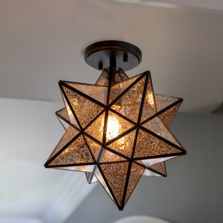 Star Shaped One Light Antique Bronze and Mercury Glass Semi Flush Pendant