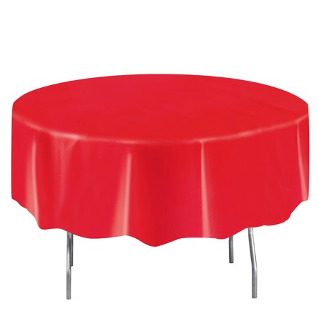 Plastic Round Tablecloth 84 In Ravishing Red 1ct