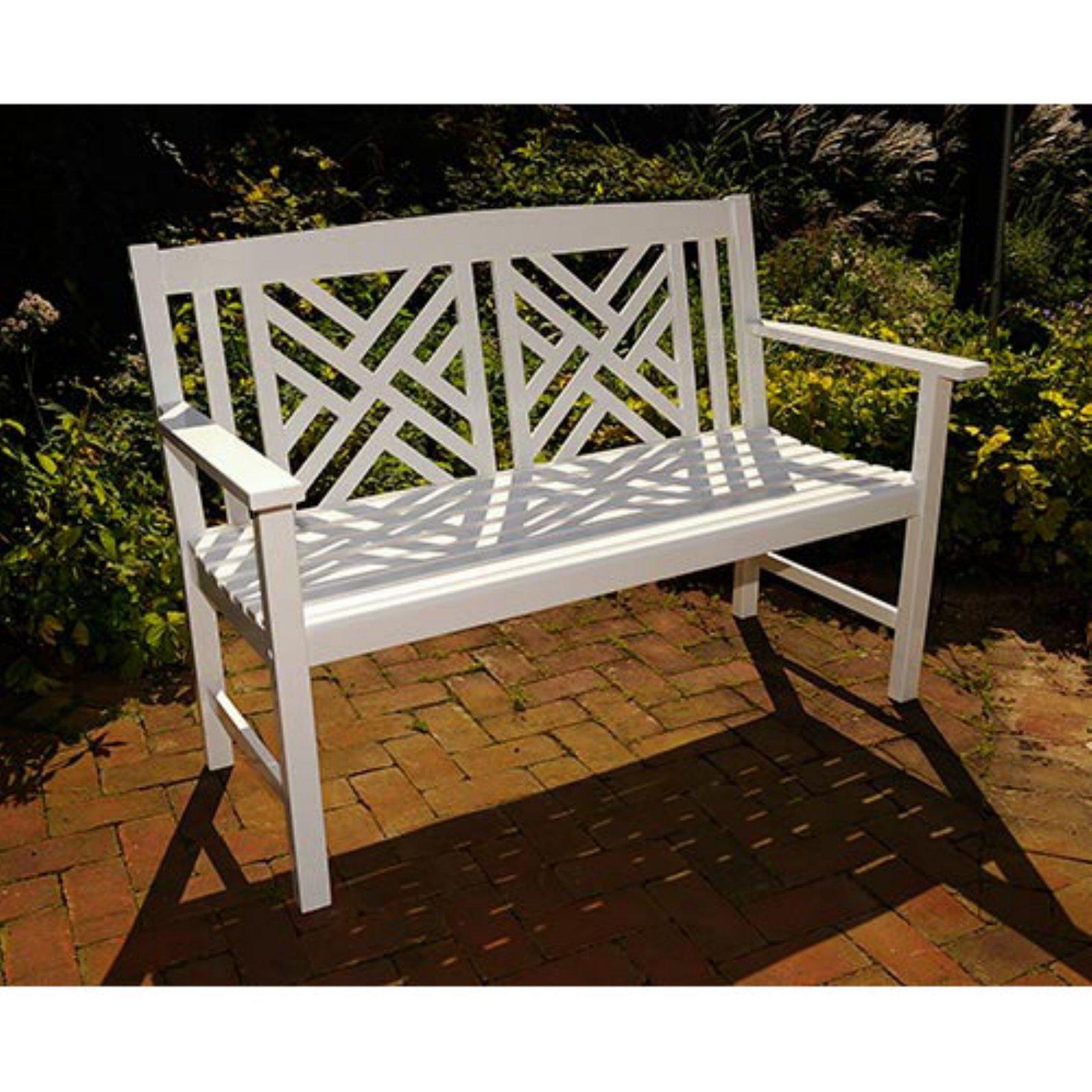 Achla Designs Fretwork 4 ft. White Garden Bench