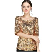 New Sequin Womens Lady Sparkle Glitter Tank 3/4 Sleeve Coctail Party Top T-Shirt