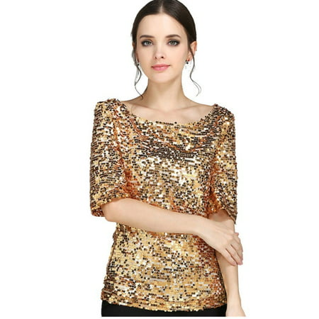 New Sequin Womens Lady Sparkle Glitter Tank 3/4 Sleeve Coctail Party Top T-Shirt (Women Shirts Tank Top)