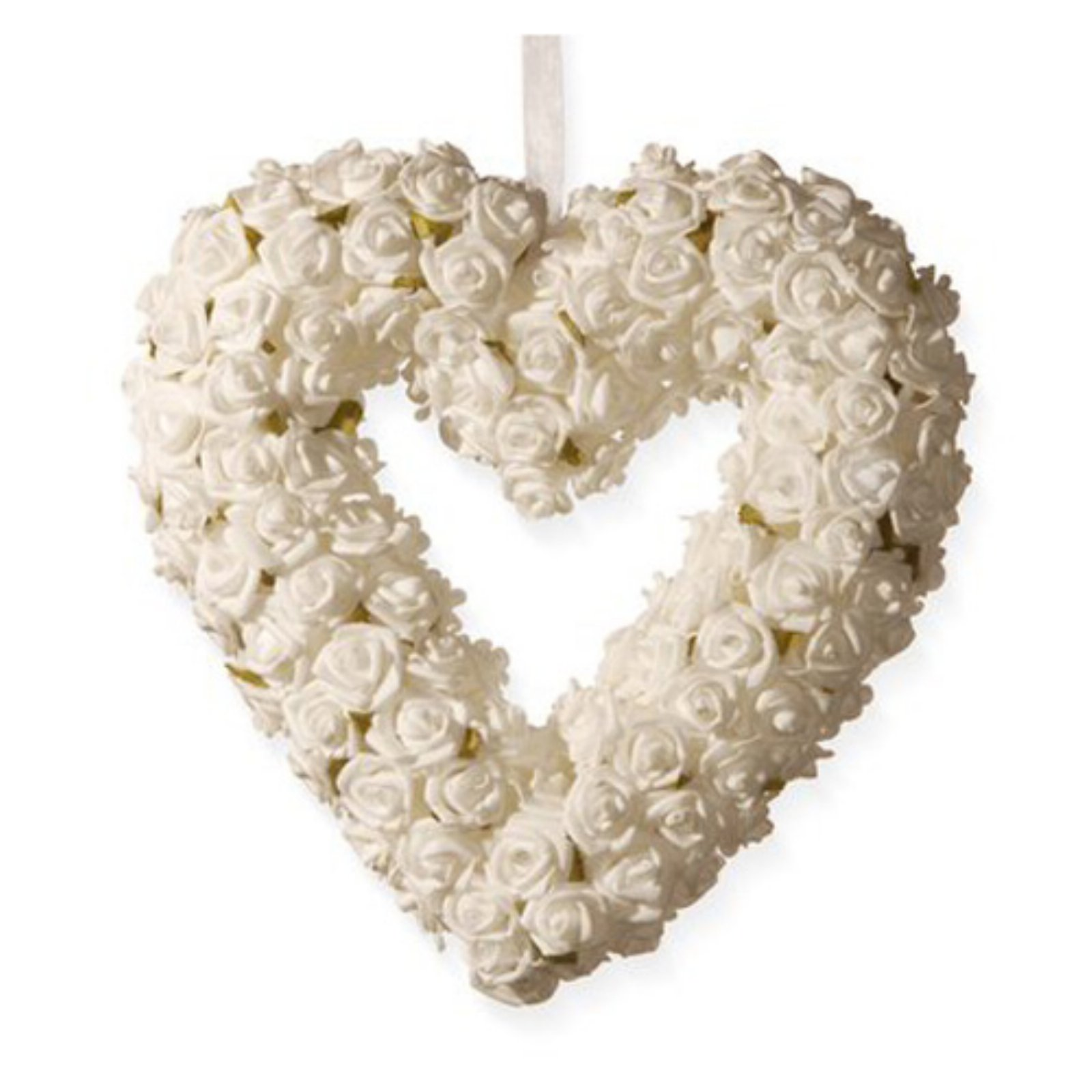 """National Tree Artificial 9.5"""" White Rose Heart Wreath"""