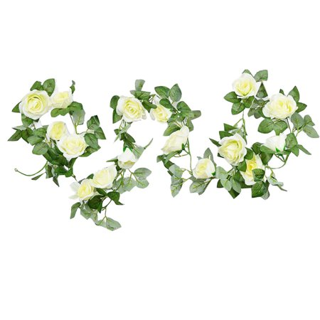 7.5ft Artificial Flower Vine, Justdolife 16 Heads Fake Romantic Rose Flowers Garland for Home Wedding Party Outdoor Decor White](Outdoor Wedding Decor)