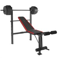 Deals on CAP Strength Standard Bench with 100 lb Weight Set