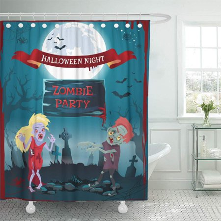 PKNMT Halloween Night Zombie Party Representing Undead People Full Moon and Graveyard Bathroom Shower Curtains 60x72 inch