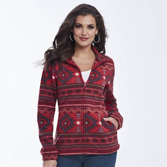 K. Jordan Women's Aztec-Print Fleece Jacket In Red - XL