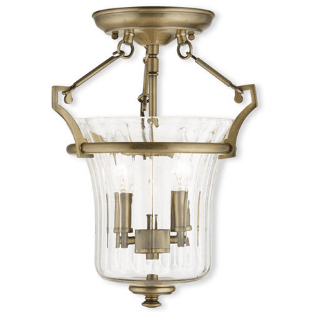Flush Mounts 2 Light With Hand Crafted Fluted Clear Glass Antique Brass size 11 in 120 Watts - World of - Antique Brass Fluted