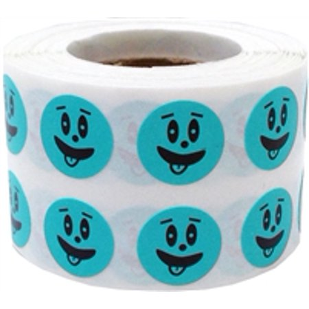 Teal silly face circle dot stickers 1 2 inch round 1000 for Half inch round labels