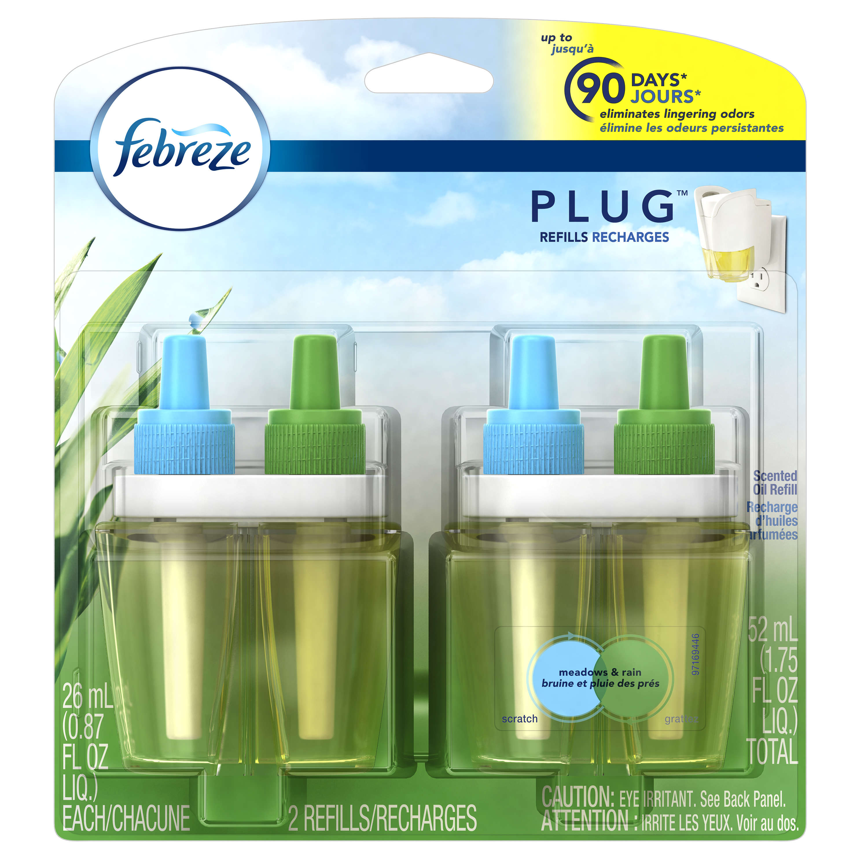 Febreze PLUG Air Freshener Refills Meadows & Rain (2 Count, 1.75 oz)