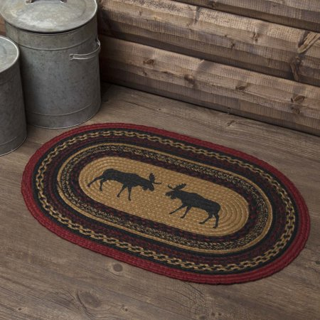 Almond Tan Rustic & Lodge Flooring Shasta Cabin Moose Jute Stenciled Nature Print Oval Accent Rug