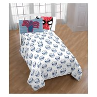 Marvel Comics  Spiderman Twin Reversible Comforter and 3 Piece Sheet Set Spidey Pillow Buddy Collection with Throw
