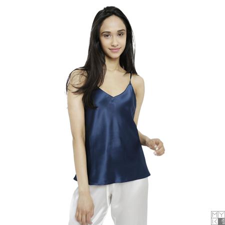 MYK Pure Silk Camisole for Women, Medium, Navy (Ladies Silk Camisoles)