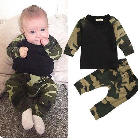 Cute Camouflage Newborn Baby Boys Kids T-shirt Top+Long Pants Outfit Clothes - Diy Cute Outfits