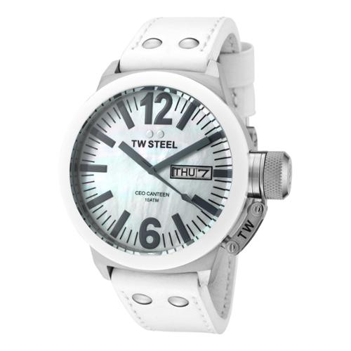 TW Steel CEO Canteen White Genuine Leather MOP Dial