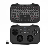 Rii RK707 Wireless Game Controller Keyboard Mouse Combo with Touchpad White Backlit Turbo Vibration Function