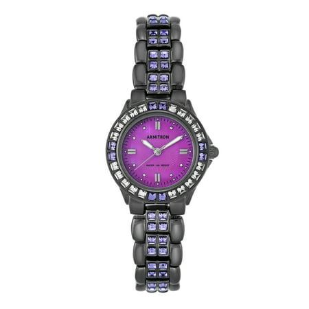 Armitron Women's Purple Swarovski Crystal Accented Gunmetal Watch, Stainless Steel