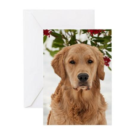 Golden Retriever Christmas Cards (CafePress - Christmas Golden Retriever - Greeting Card, Blank Inside Glossy )