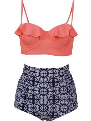 Plus Size Women Striped Floral Padded Push Up High Waist Swimsuit Swimwear Bikini Set Beachwear Bra Swim Costume Bathing