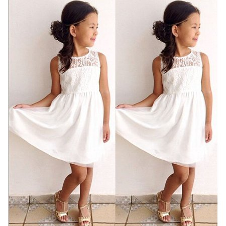 Fashion Baby Girls White Lace Dress Party Formal Princess Children Kids Dresses](Party Dress Kids)