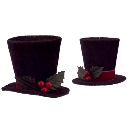 pack of 8 black top hat with holly and berries christmas ornaments 25 3 - Top Hat Christmas Decorations