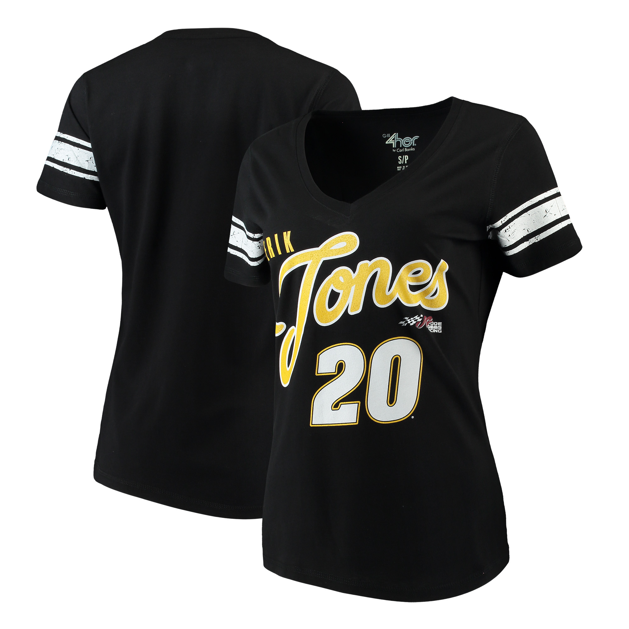 Erik Jones G-III 4Her by Carl Banks Women's First Pick V-Neck T-Shirt - Black