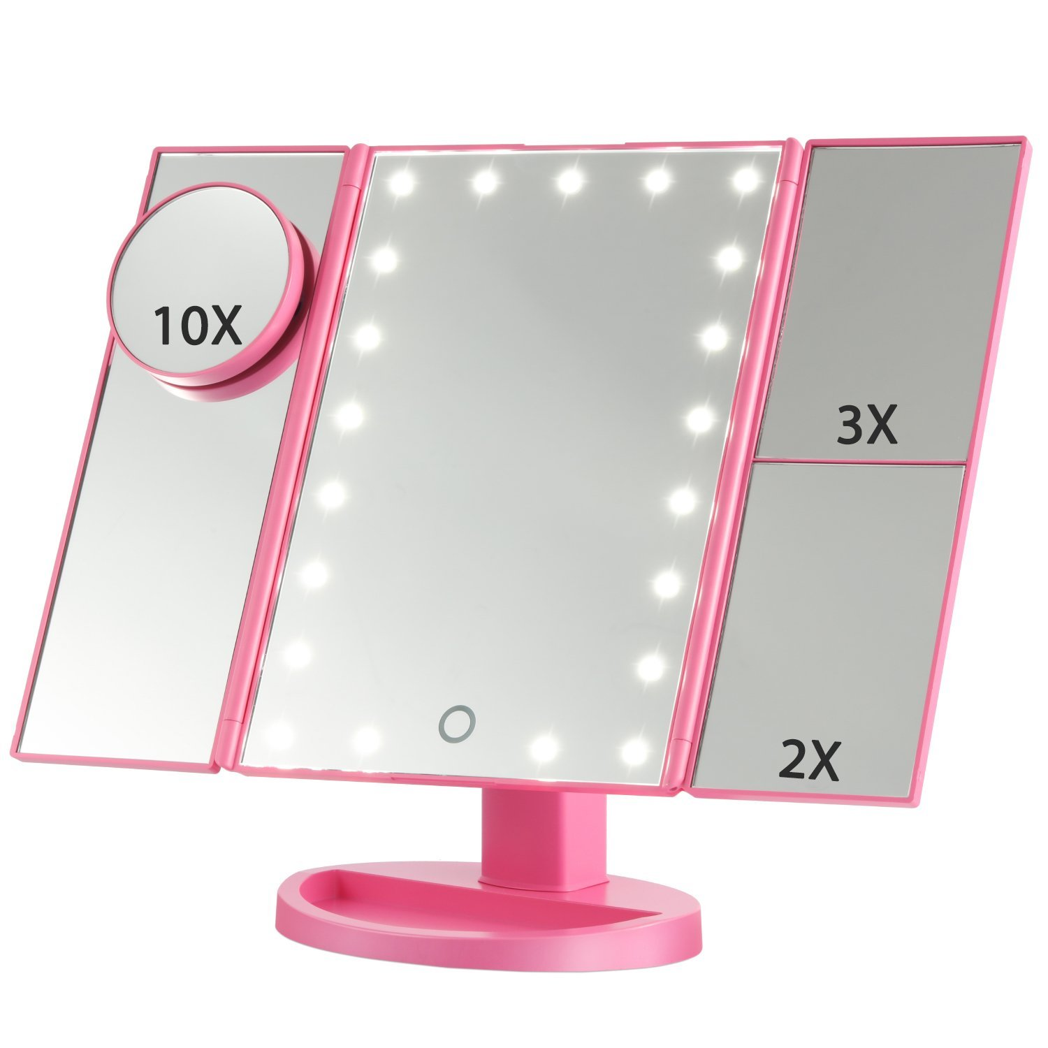 Makeup Mirrors-Touch Screen LED Lighted Makeup Mirror with 10x Magnifying Mirrors