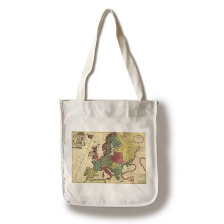 Europe    1718    Panoramic Map  100  Cotton Tote Bag   Reusable