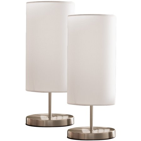 Maylee Brushed Nickel With White Cylinder Fabric Shade Modern Bedroom, Bedside, Desk, Bookcase, Living Room Table Lamps (Set Of 2) (Gear (Brushed Nickel Room Conditioner)