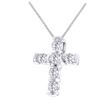 Round Cut Cubic Zirconia Cross Pendant In 14K White Gold Over Sterling Silver  0 3 Cttw