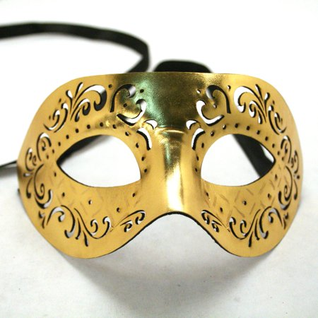 Gold Masquerade Leather Mask (Black And Gold Masquerade Ball Masks)