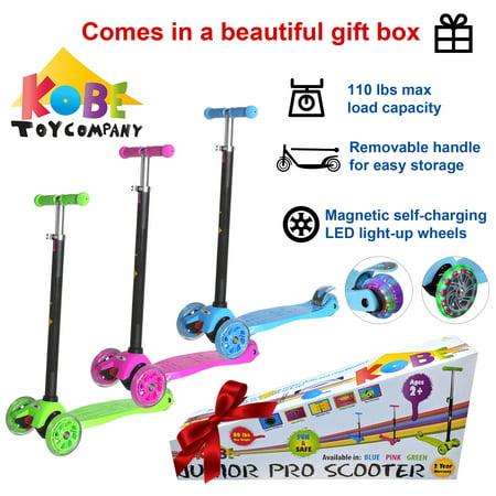 KOBE Junior Pro Mini Scooter - with 4 Swivel LED Light Up Wheels - Kids 2 to 6-yo - Pink - image 3 de 9