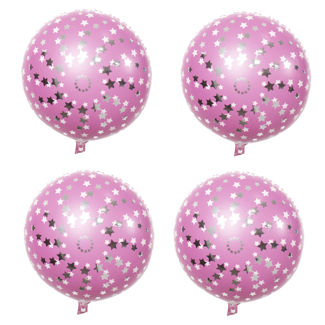 Unique Bargains Birthday Wedding Foil Star Pattern Round Inflation Balloon Pink 18 Inches 4pcs - image 4 de 4