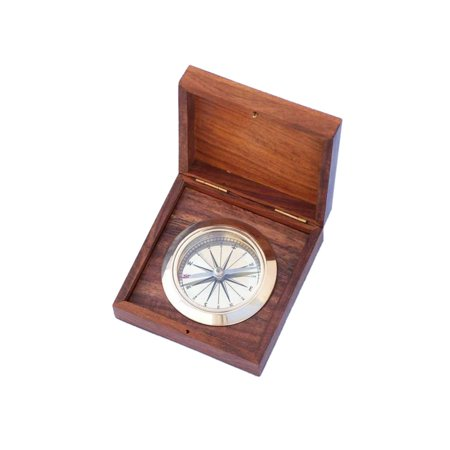 - Brass Captain's Boxed Desk Compass 4