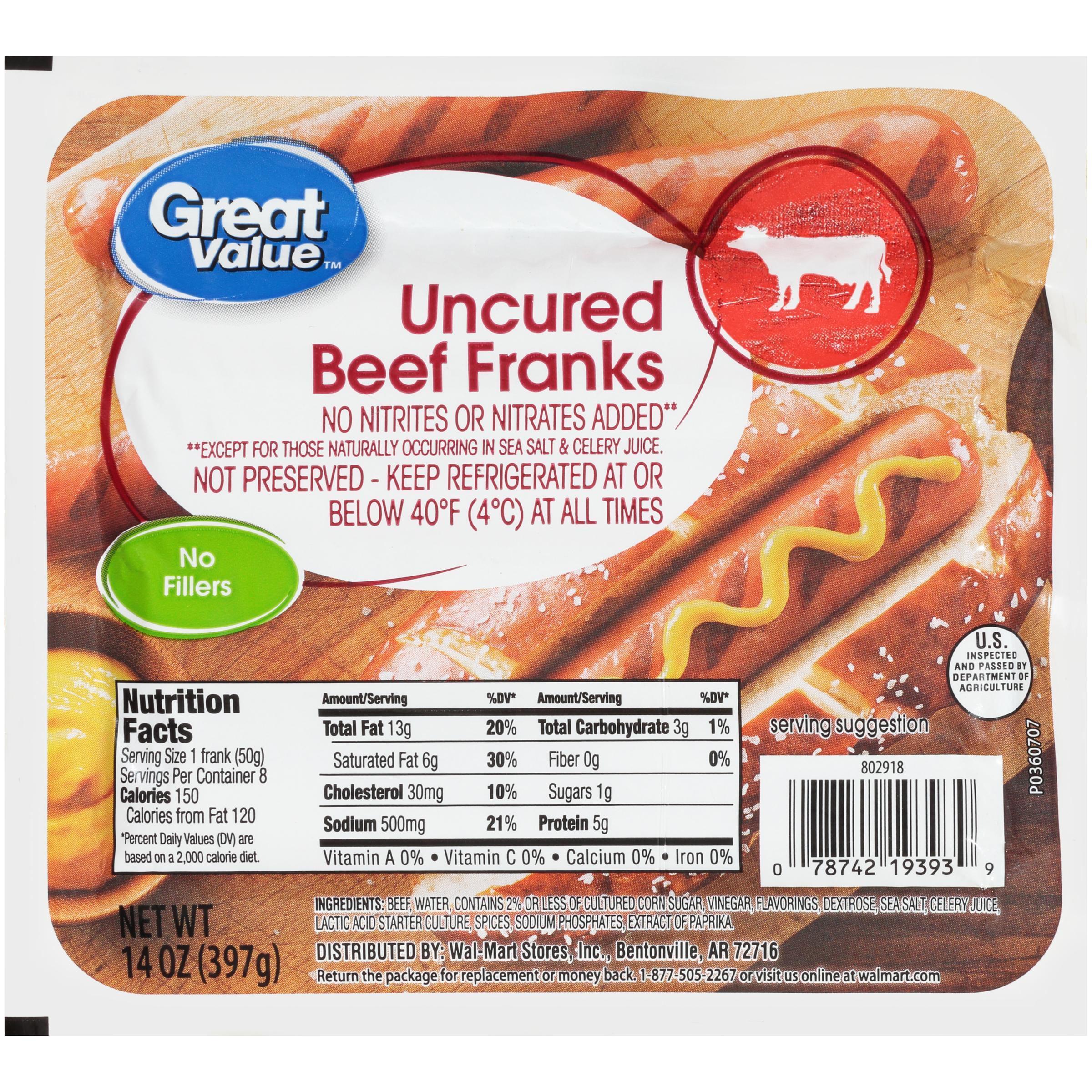 Great Value Uncured Beef Franks, 14 oz