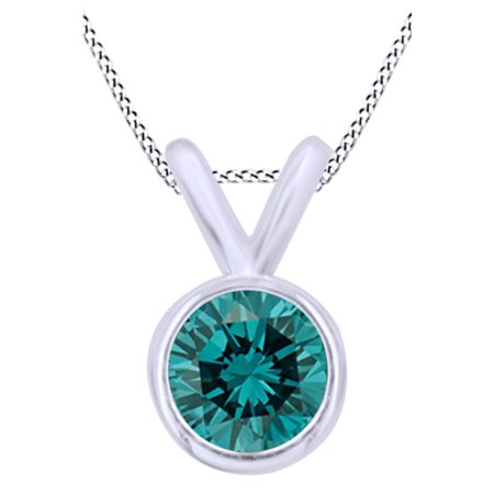Blue Natural Diamond Bezel Set Solitaire Pendant Necklace in 14K Solid White Gold (0.5 Ct)