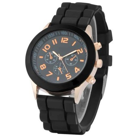 Black Unisex Men Women Silicone Jelly Quartz Analog Sports Wrist Watch