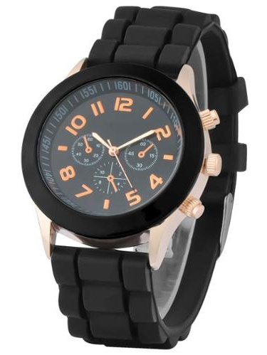 Zodaca Black Unisex Men Women Silicone Jelly Quartz Analog Sports Wrist Watch New