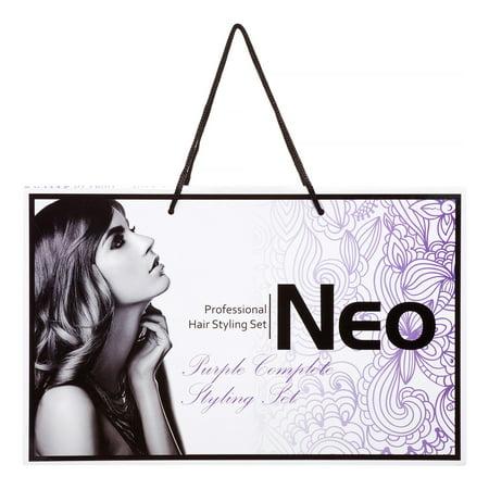 Neo Full Hair 3-Piece Set - Hair Straightener, Curling Iron & Travel Hair Dryer, Purple 3636 Neo Neo Angle