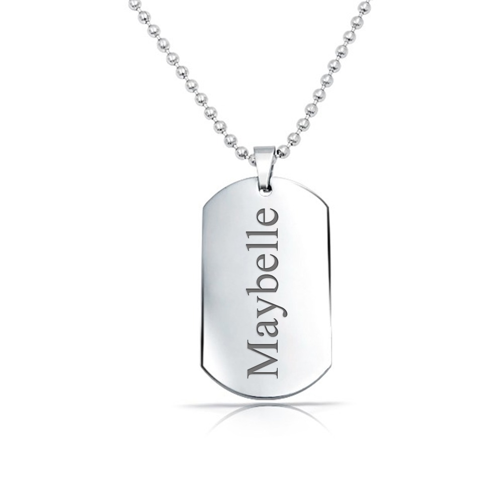 Solid 925 Sterling Silver Polished Classic Dog Tag Pendant  .