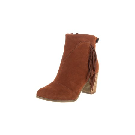 TOMS Lunata Fringe Ankle Booties, Cognac Suede - image 5 of 5