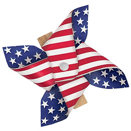 Amscan Patriotic Pinwheel in Wooden Clips 4th of July Party Outdoor Decoration, 8 Pieces, Made from Paper, Patriotic theme, 2 1/2 by