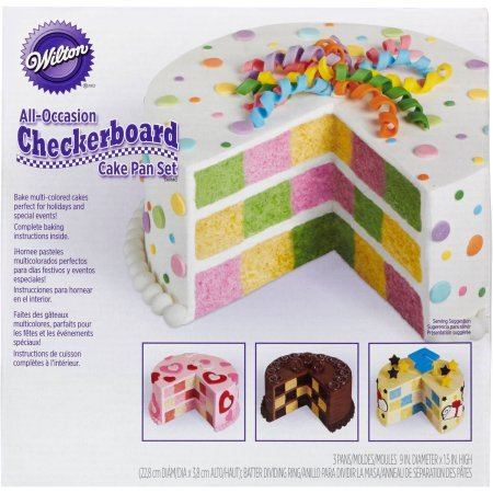 Wilton Round Checkerboard Cake Pan Set, - Easter Cake Pans