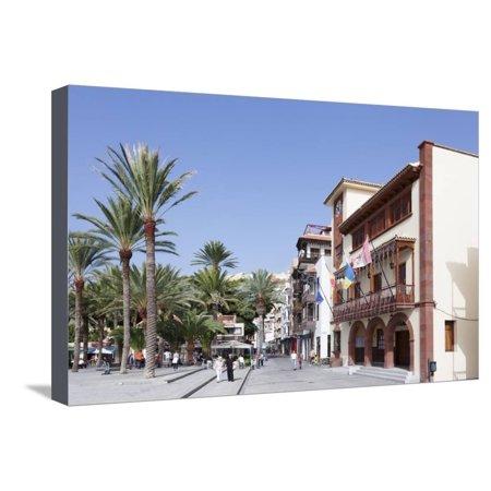 Town Hall at Plaza De Las Americas Square, San Sebastian, La Gomera, Canary Islands, Spain, Europe Stretched Canvas Print Wall Art By Markus Lange (Town Square Las)