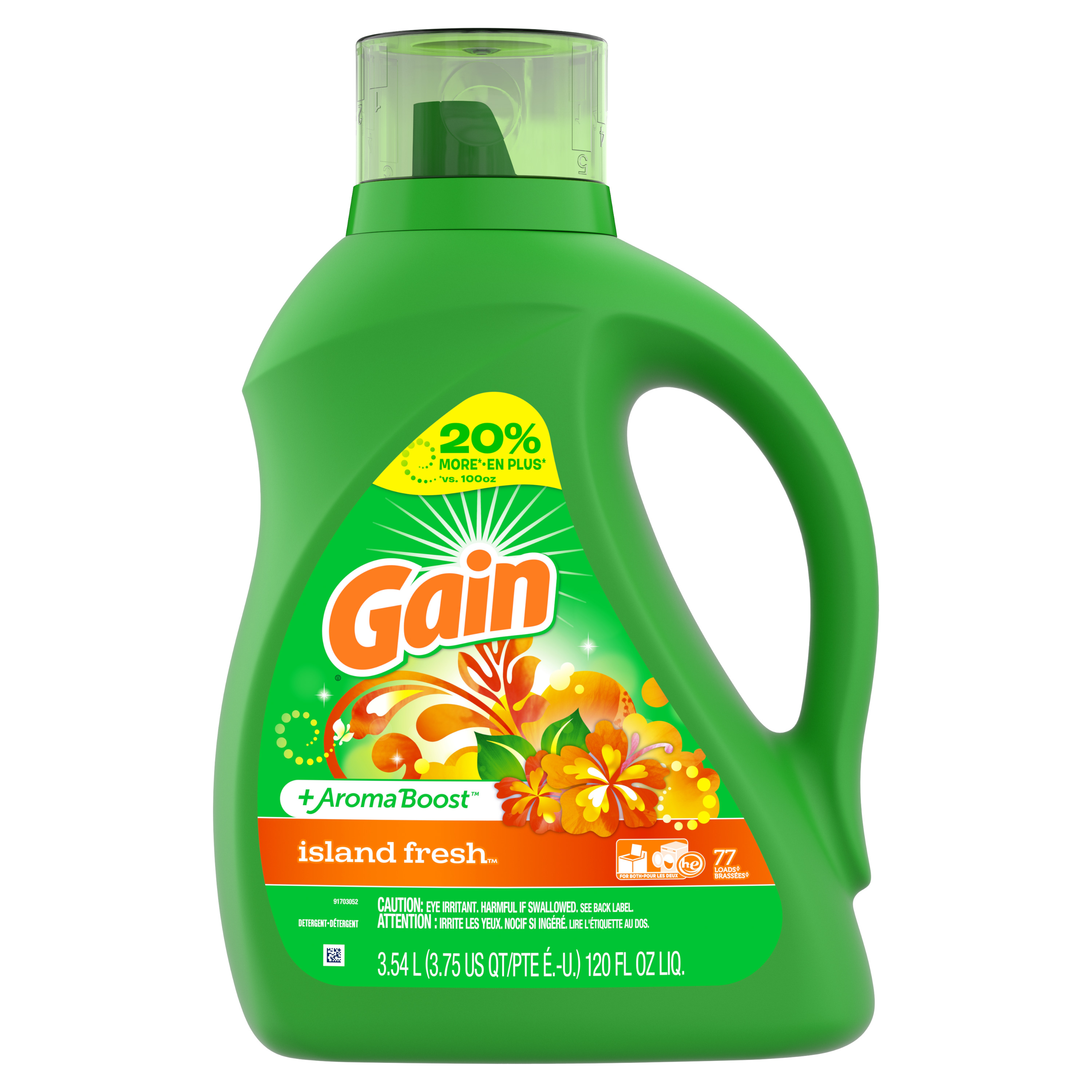 Gain + Aroma Boost Liquid Laundry Detergent, Island Fresh, 77 Loads, 120 fl oz