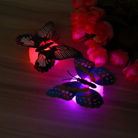 Fashion LED Glowing 3D Butterfly Night Light Sticker Art Design Mural Home Wall Decal  - image 2 of 12