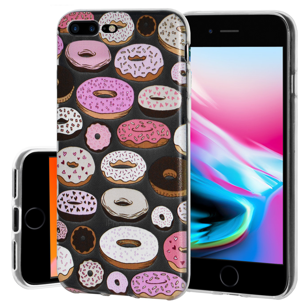 iPhone 8 Case, Premium Soft Gel Clear TPU Graphic Skin Case Cover for Apple iPhone 8 - Modern Donut Print, Support Wireless Charging, Slim Fit, ShockProof