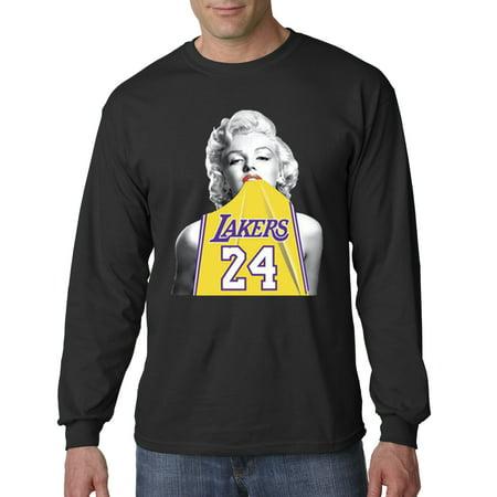 Trendy USA 412 - Unisex Long-Sleeve T-Shirt Marilyn Monroe Lakers 24 Kobe Bryant Jersey Small