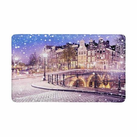 MKHERT European Cityscape Dutch Old Houses and Bridges On Snowy Winter Night Doormat Rug Home Decor Floor Mat Bath Mat 30x18 inch ()