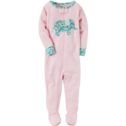 Carter's Girls 2T-4T Elephant Footed Pajama (Pink 3T)