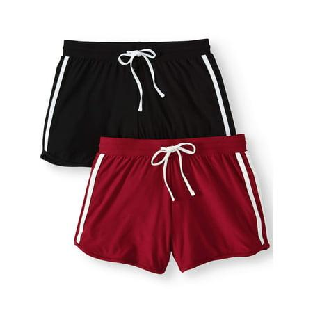 Juniors' Basic Knit Shorts with Tie-Front 2pk Value Bundle